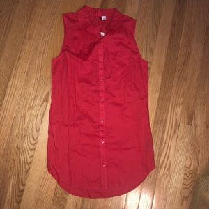 Red Sleeveless Button-Up Tunic Blouse